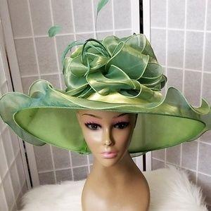 Green satin dress hat